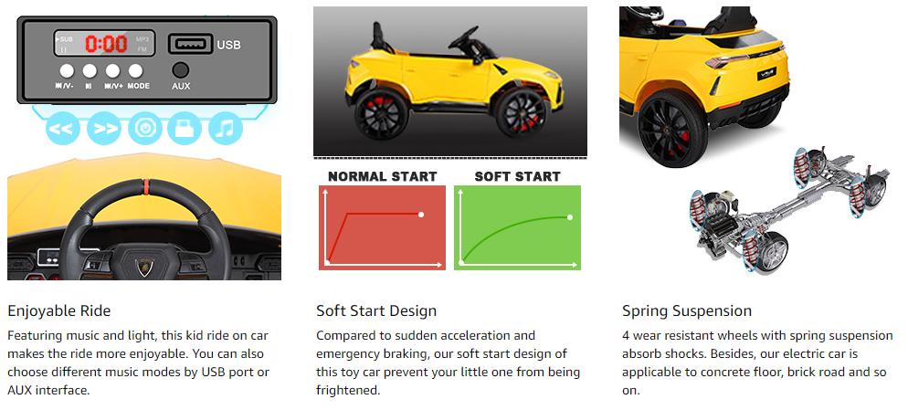 12V Lamborghini Licensed Electric Kids Ride on Car with Remote Control, Yellow asdasdasasdda