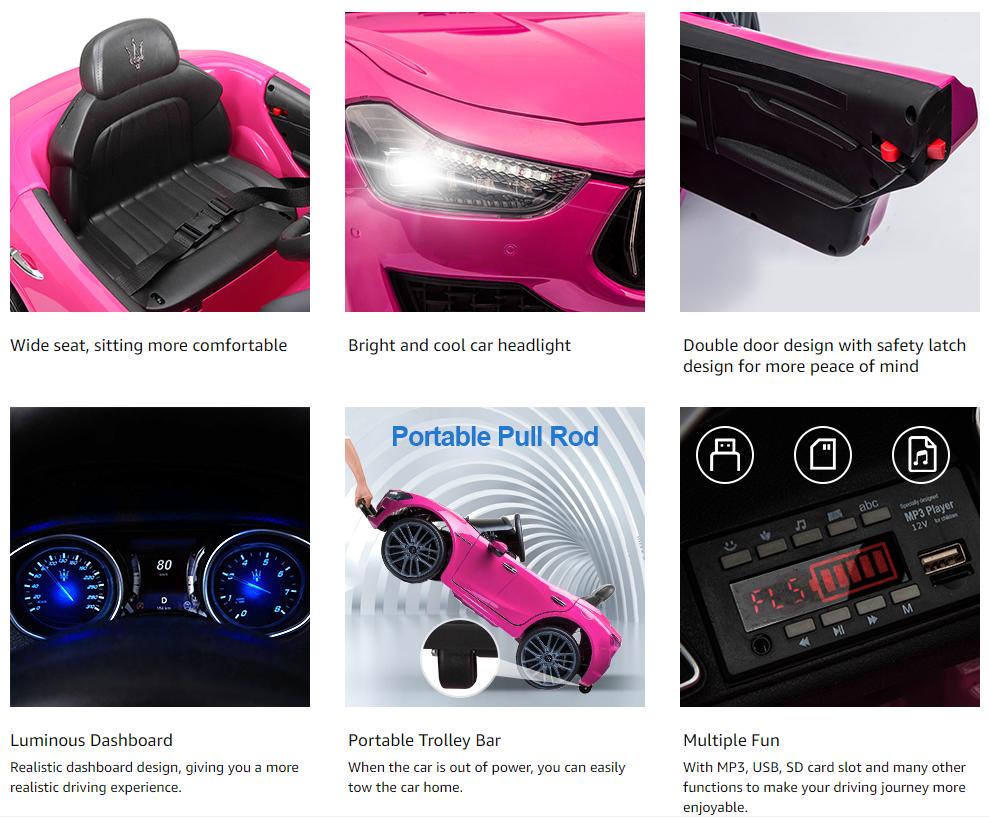12V Maserati Licensed Kids Ride On Car with Remote Control, Pink asdasdasdasasdasd