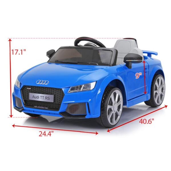 Audi TT RS Ride On Car For Kids With Remote Control, Blue audi tt rs licensed ride on car blue 13 1