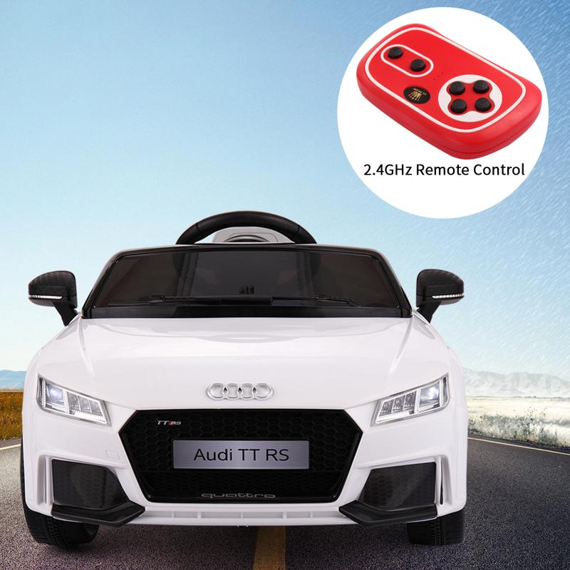 Audi TT RS Ride On Car For Kids With Remote Control, White audi tt rs licensed ride on car white 1 2