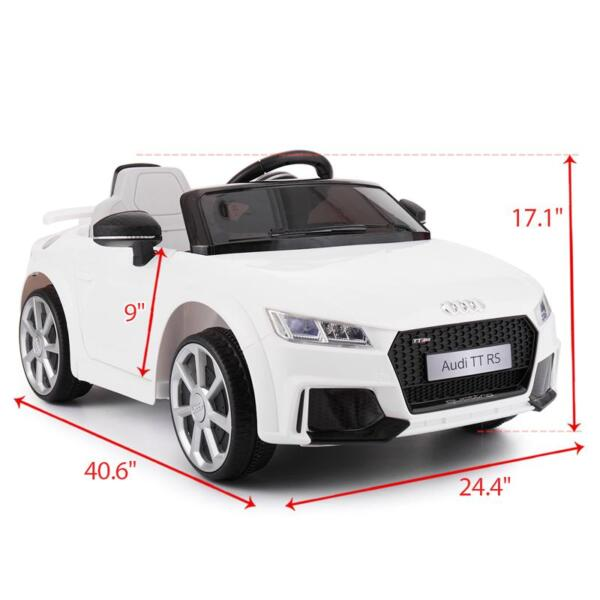 Audi TT RS Ride On Car For Kids With Remote Control, White audi tt rs licensed ride on car white 25 1