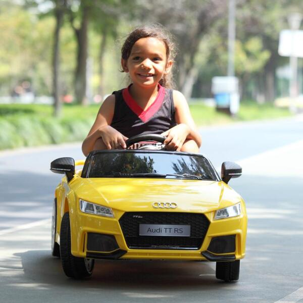 Audi TT RS Ride On Car For Kids With Remote Control, Yellow audi tt rs licensed ride on car yellow 10