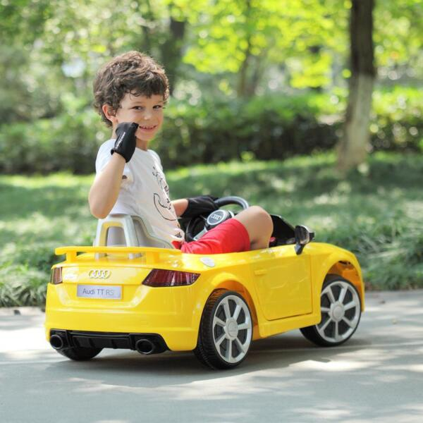 Audi TT RS Ride On Car For Kids With Remote Control, Yellow audi tt rs licensed ride on car yellow 14