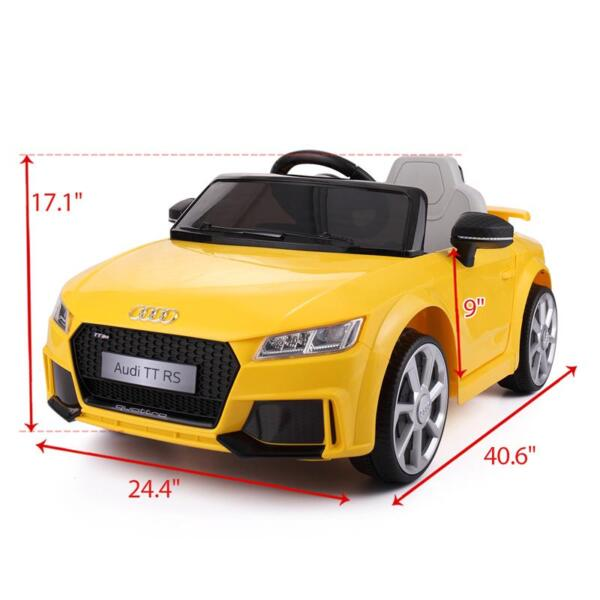 Audi TT RS Ride On Car For Kids With Remote Control, Yellow audi tt rs licensed ride on car yellow 36 1