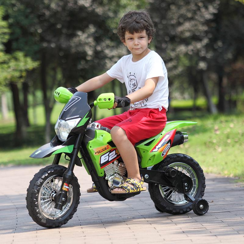 Green 6V Electric Kids Dirt Bike Motorcycle auxiliary kids ride on motorcycle green 28 1