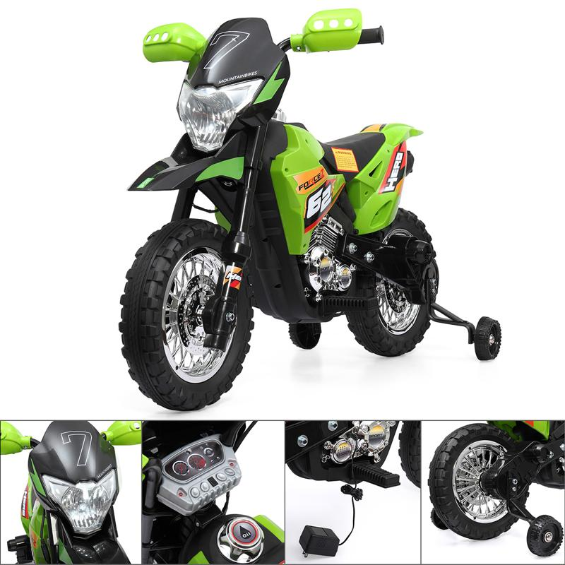 Green 6V Electric Kids Dirt Bike Motorcycle auxiliary kids ride on motorcycle green 50