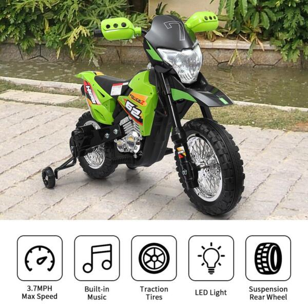 Auxiliary Kids Ride On Motorcycle, Green auxiliary kids ride on motorcycle green 53 1