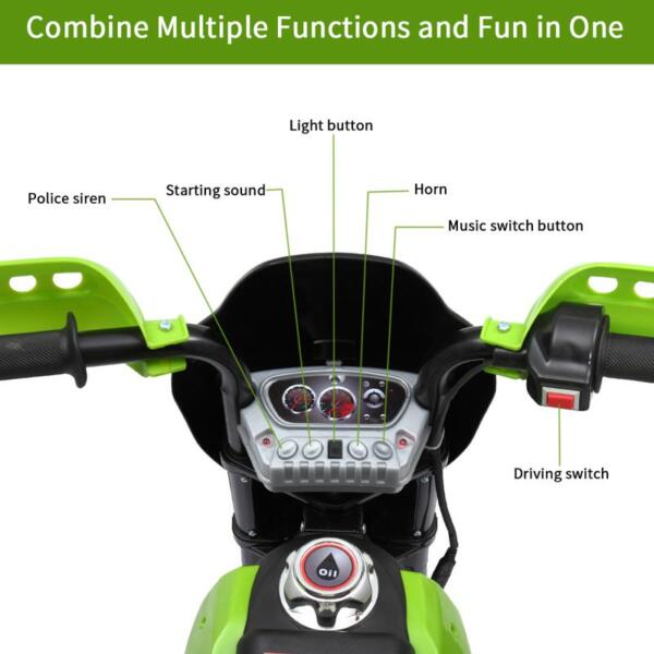 Auxiliary Kids Ride On Motorcycle, Green auxiliary kids ride on motorcycle green 55