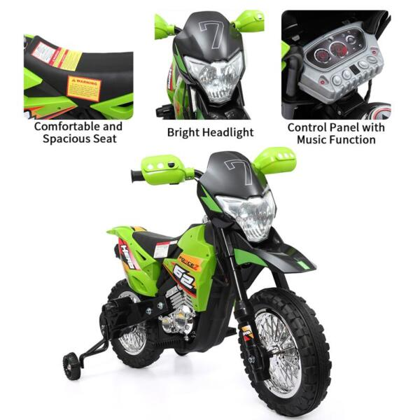 Auxiliary Kids Ride On Motorcycle, Green auxiliary kids ride on motorcycle green 56 1
