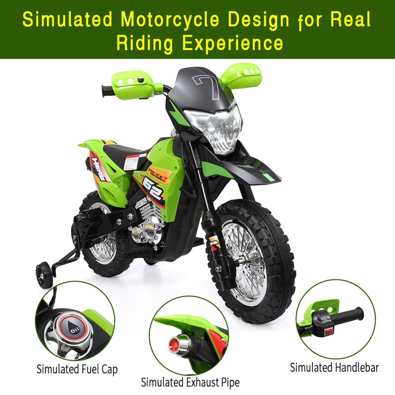 a Tobbi kids motorcycle with realistic designs