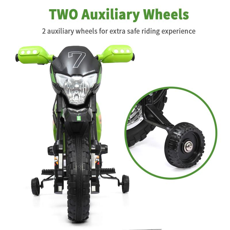 Green 6V Electric Kids Dirt Bike Motorcycle auxiliary kids ride on motorcycle green 59