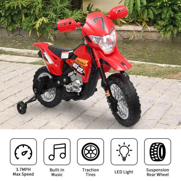 Auxiliary Kids Ride On Motorcycle, Red auxiliary kids ride on motorcycle red 30 1