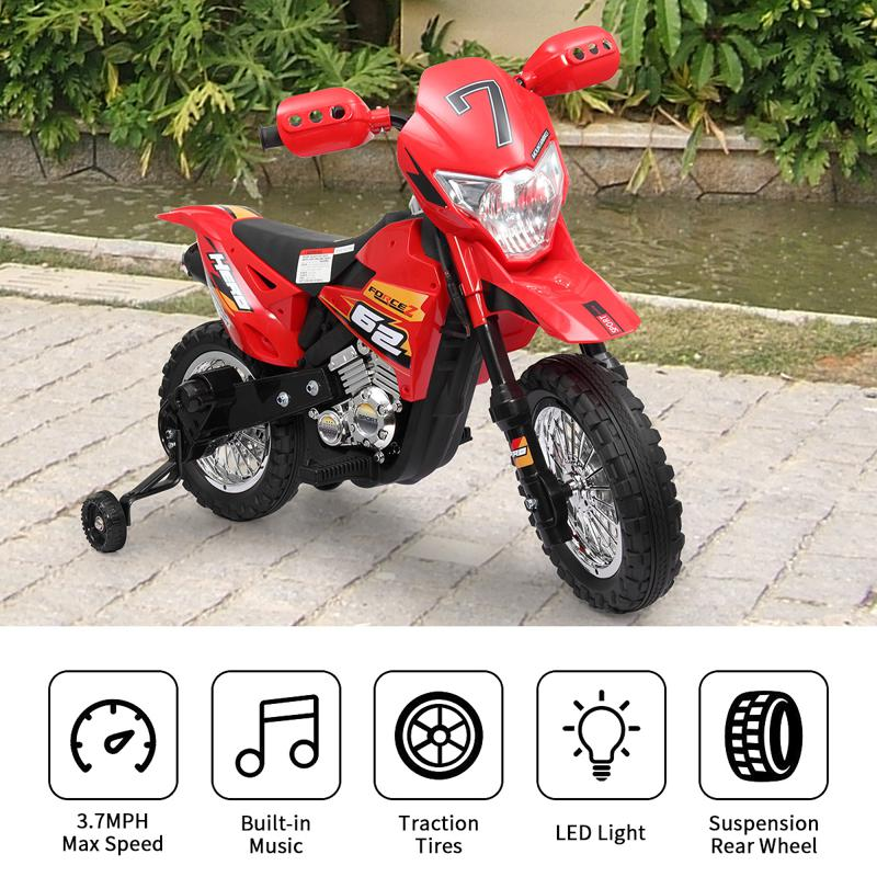 Kids Electric Toy Dirt Bike with Training Wheels auxiliary kids ride on motorcycle red 30 2