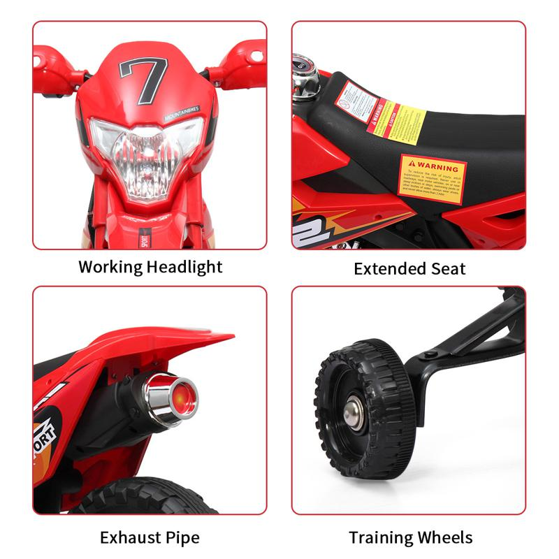 Kids Electric Toy Dirt Bike with Training Wheels auxiliary kids ride on motorcycle red 31 2