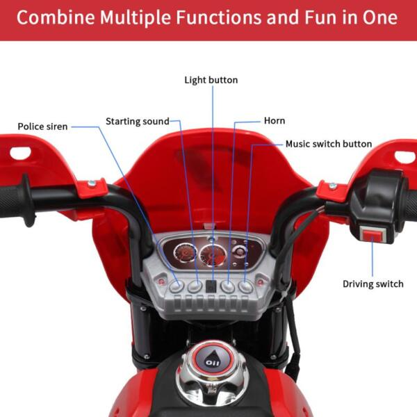 Auxiliary Kids Ride On Motorcycle, Red auxiliary kids ride on motorcycle red 32