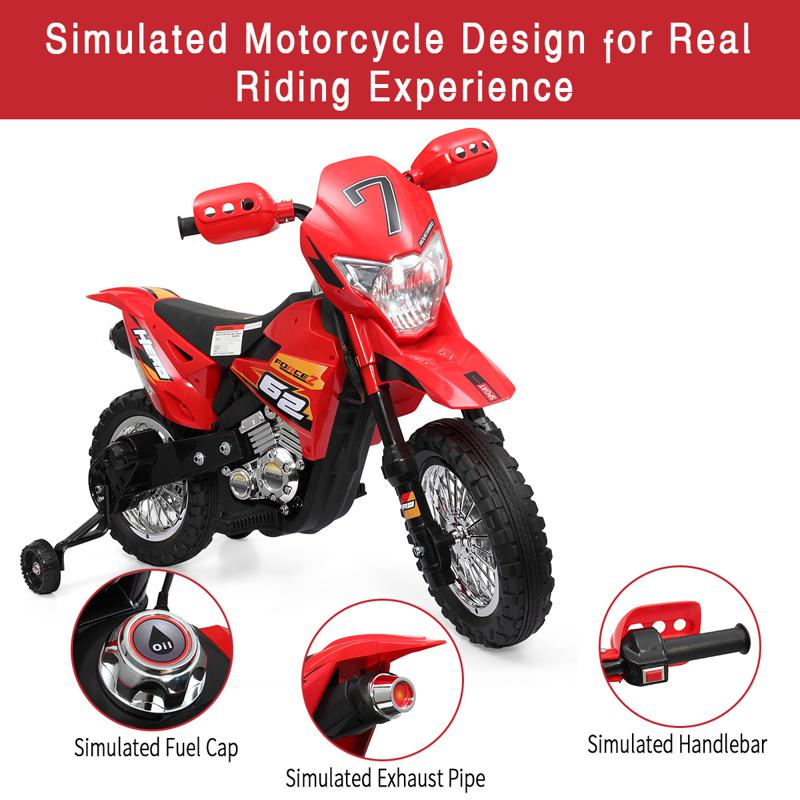 Kids Electric Toy Dirt Bike with Training Wheels auxiliary kids ride on motorcycle red 34 1
