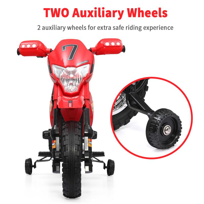 Kids Electric Toy Dirt Bike with Training Wheels auxiliary kids ride on motorcycle red 36