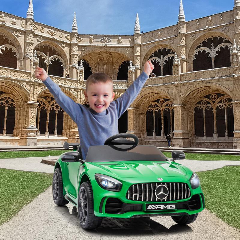 12V Mercedes-Benz GTR-AMG Kids Electric Ride On Car, Green benz gtr amg licensed 12v electric car black 1 1
