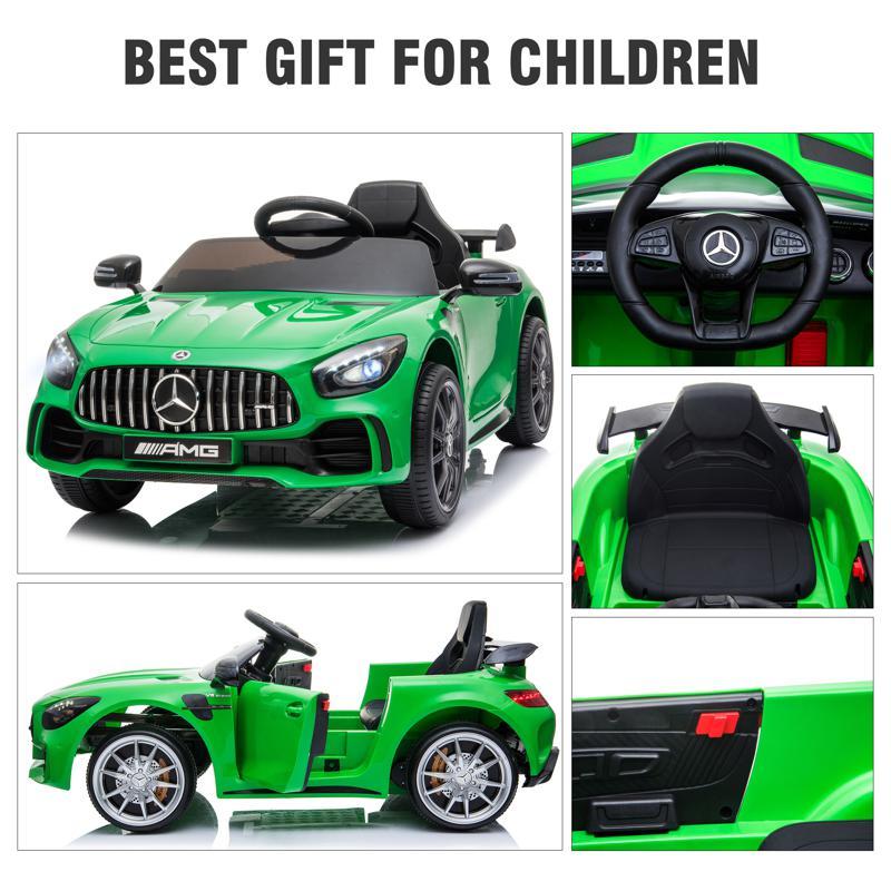 12V Mercedes-Benz GTR-AMG Kids Electric Ride On Car, Green benz gtr amg licensed 12v electric car black 13 2
