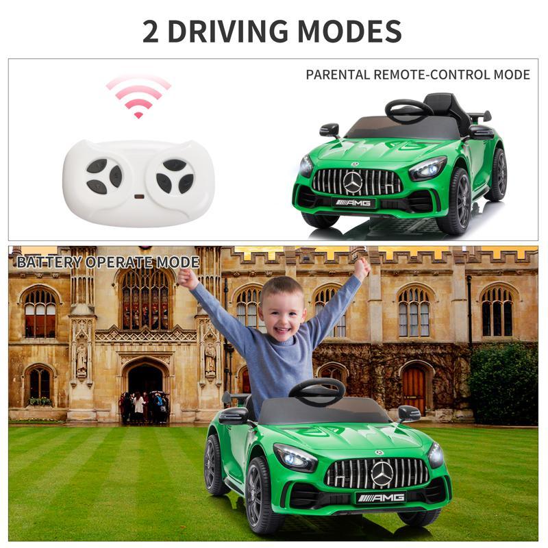 12V Mercedes-Benz GTR-AMG Kids Electric Ride On Car, Green benz gtr amg licensed 12v electric car black 24 3