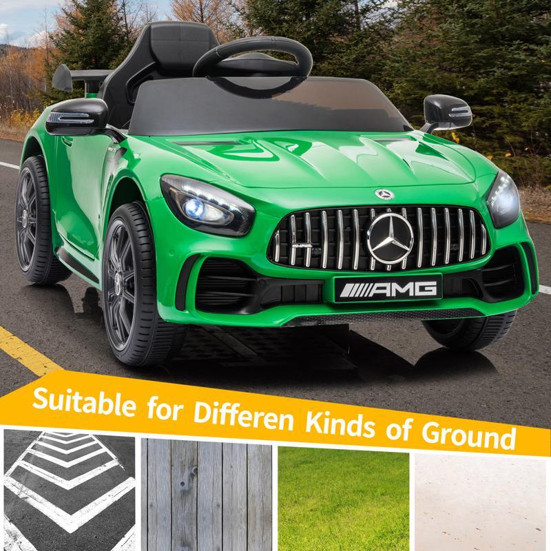 12V Mercedes-Benz GTR-AMG Kids Electric Ride On Car, Green benz gtr amg licensed 12v electric car black 3 2