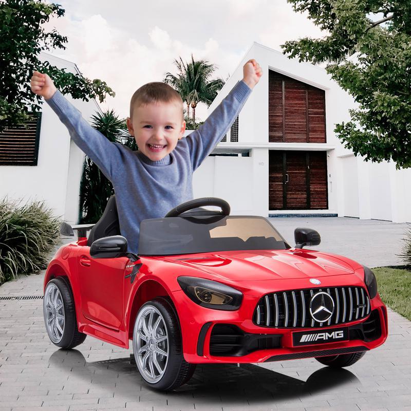 12V Mercedes-Benz GTR-AMG Kids Electric Ride On Car, Red benz gtr amg licensed 12v electric car red 16 1