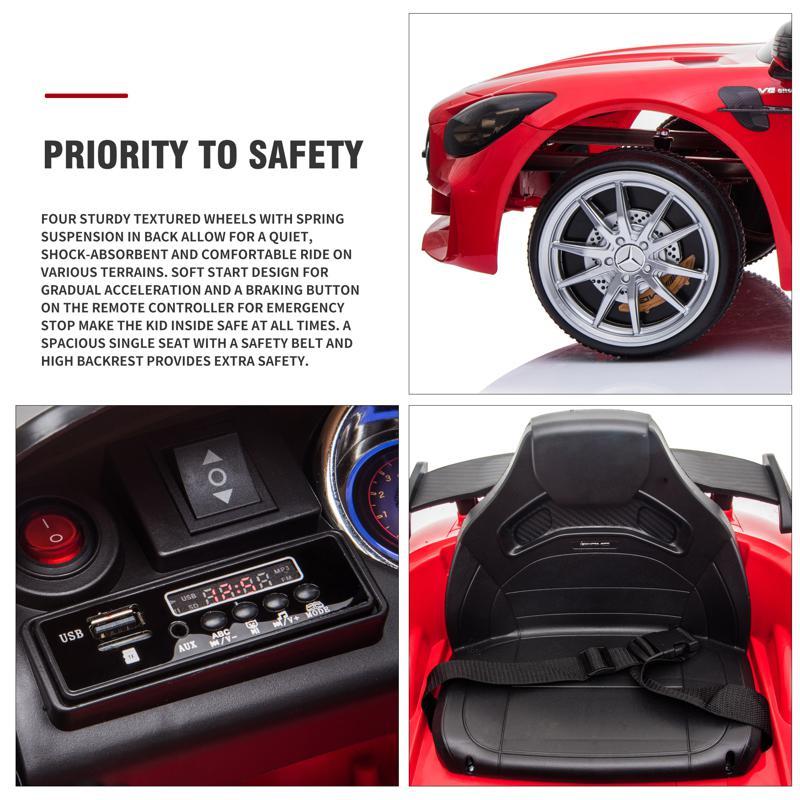 12V Mercedes-Benz GTR-AMG Kids Electric Ride On Car, Red benz gtr amg licensed 12v electric car red 25 1