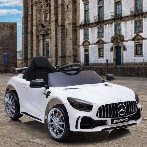 12V Mercedes-Benz GTR-AMG Kids Electric Ride On Car, White benz gtr amg licensed 12v electric car white 16