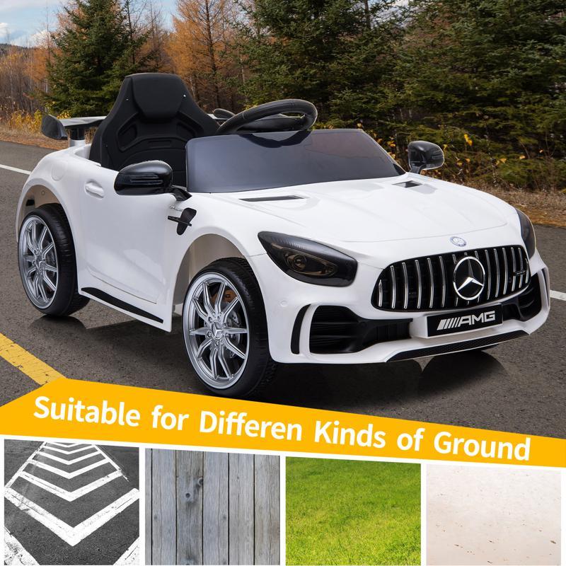 12V Mercedes-Benz GTR-AMG Kids Electric Ride On Car, White benz gtr amg licensed 12v electric car white 17 1