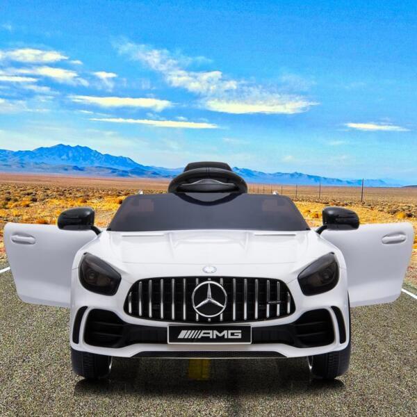 12V Mercedes-Benz GTR-AMG Kids Electric Ride On Car, White benz gtr amg licensed 12v electric car white 20
