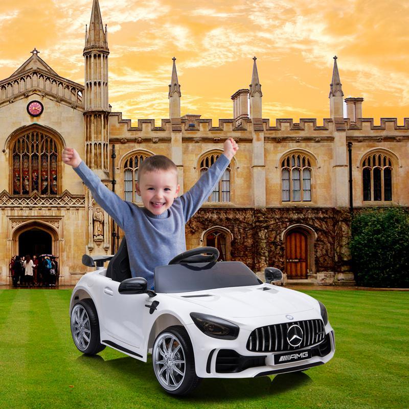 12V Mercedes-Benz GTR-AMG Kids Electric Ride On Car, White benz gtr amg licensed 12v electric car white 21 1