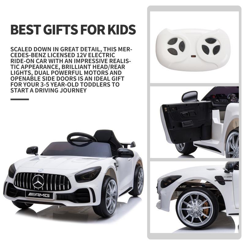 12V Mercedes-Benz GTR-AMG Kids Electric Ride On Car, White benz gtr amg licensed 12v electric car white 23 2
