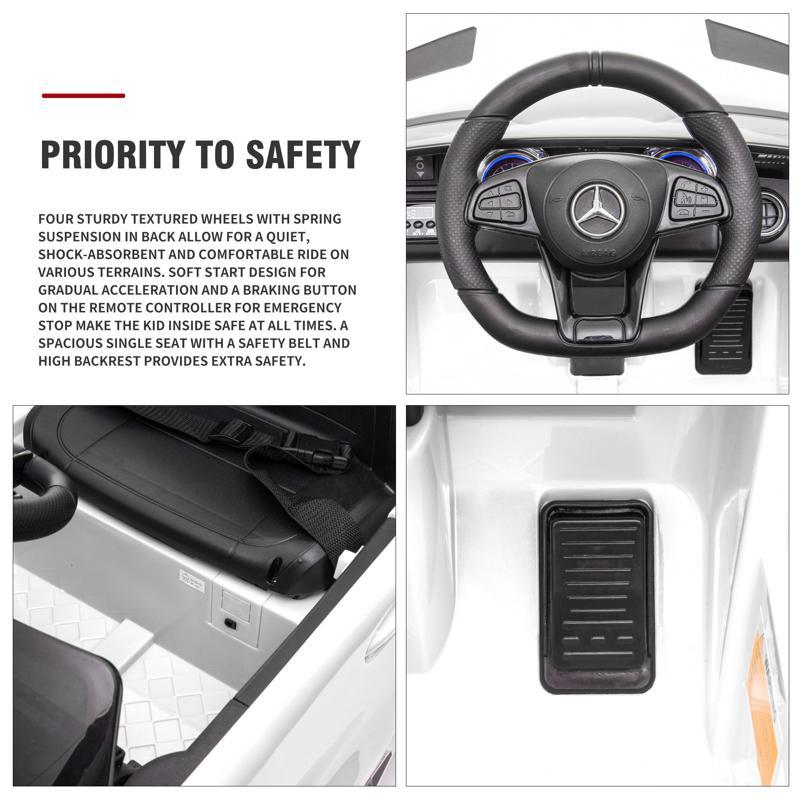 12V Mercedes-Benz GTR-AMG Kids Electric Ride On Car, White benz gtr amg licensed 12v electric car white 25 2