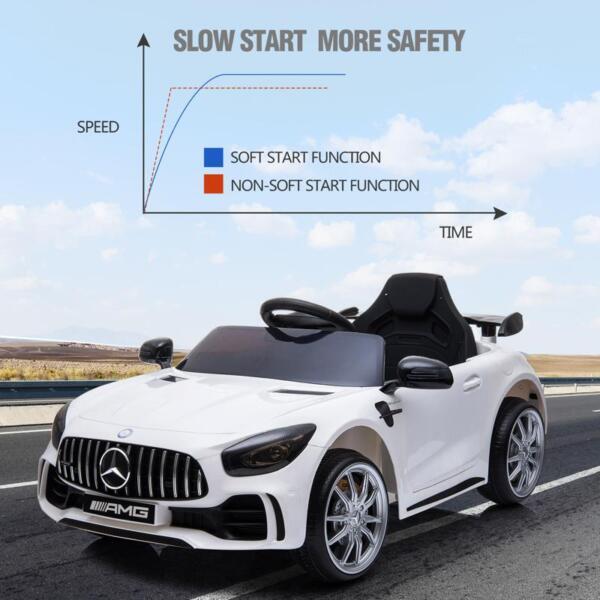12V Mercedes-Benz GTR-AMG Kids Electric Ride On Car, White benz gtr amg licensed 12v electric car white 34