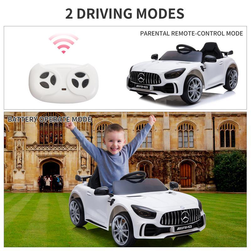 12V Mercedes-Benz GTR-AMG Kids Electric Ride On Car, White benz gtr amg licensed 12v electric car white 35 2
