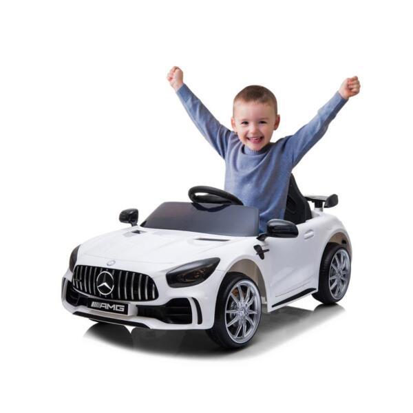 12V Mercedes-Benz GTR-AMG Kids Electric Ride On Car, White benz gtr amg licensed 12v electric car white 5