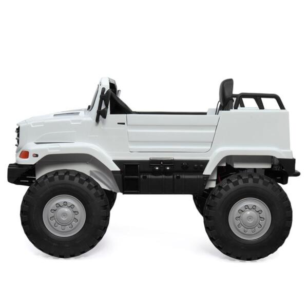 12V Mercedes Benz Truck For Kids With Remote, White benz licensed kids ride on truck white 15