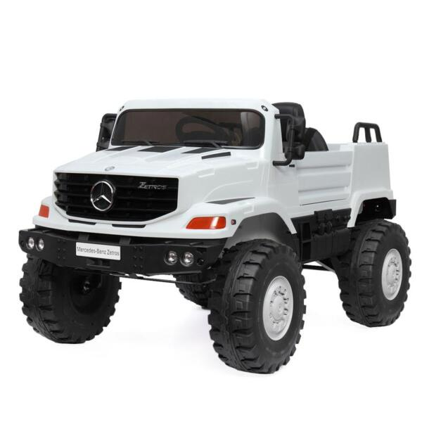12V Mercedes Benz Truck For Kids With Remote, White benz licensed kids ride on truck white 16