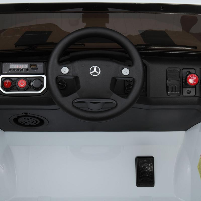 12V Mercedes Benz Truck For Kids With Remote, White benz licensed kids ride on truck white 21 2
