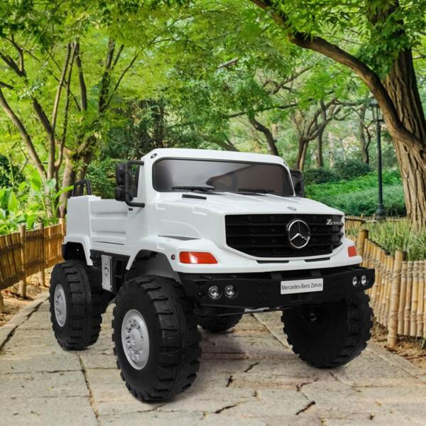 12V Mercedes Benz Truck For Kids With Remote, White benz licensed kids ride on truck white 4