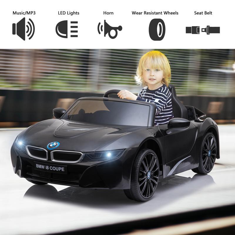 BMW Ride on Car With Remote Control For Kids, Black bmw licensed i8 12v kids ride on car black 24 2