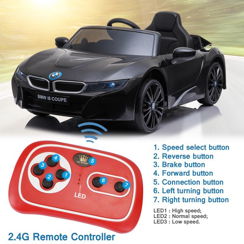 BMW Ride on Car With Remote Control For Kids, Black bmw licensed i8 12v kids ride on car black 27 2