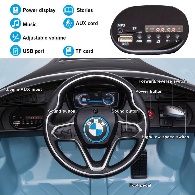 BMW Ride on Car With Remote Control For Kids, Blue bmw licensed i8 12v kids ride on car blue 27 2
