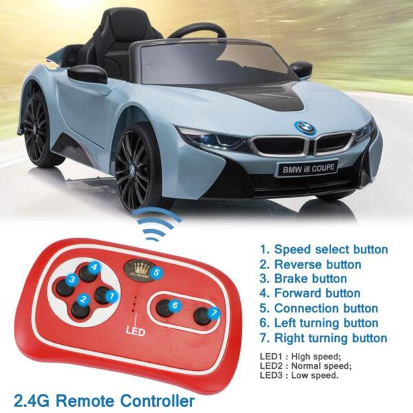 BMW Ride on Car With Remote Control For Kids, Blue bmw licensed i8 12v kids ride on car blue 31
