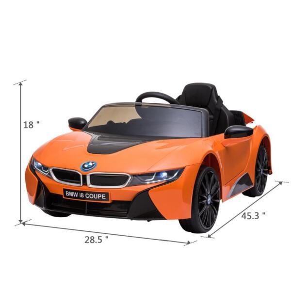 BMW Licensed i8 12V Kids Ride on Car, Orange bmw licensed i8 12v kids ride on car orange 14 1