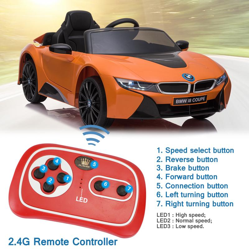 BMW Ride on Car With Remote Control For Kids, Orange bmw licensed i8 12v kids ride on car orange 24 2