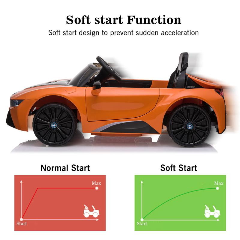 BMW Ride on Car With Remote Control For Kids, Orange bmw licensed i8 12v kids ride on car orange 25 2