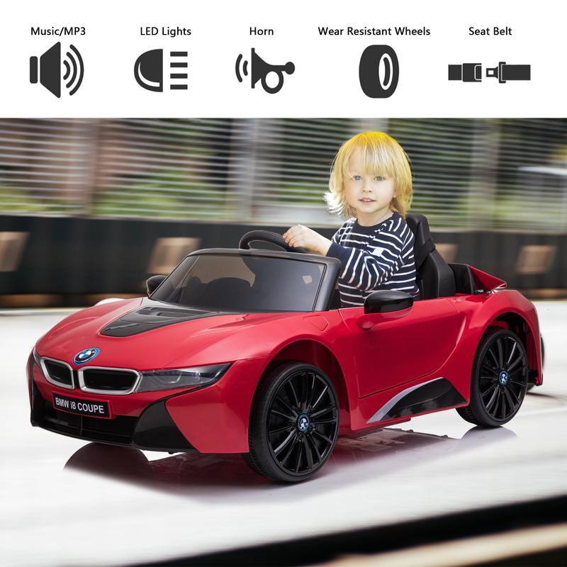 BMW Ride on Car With Remote Control For Kids, Red bmw licensed i8 12v kids ride on car red 26 2