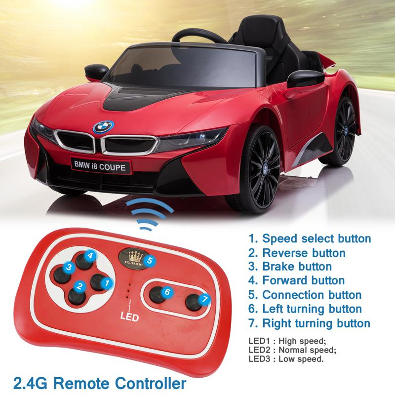 BMW Ride on Car With Remote Control For Kids, Red bmw licensed i8 12v kids ride on car red 27 1