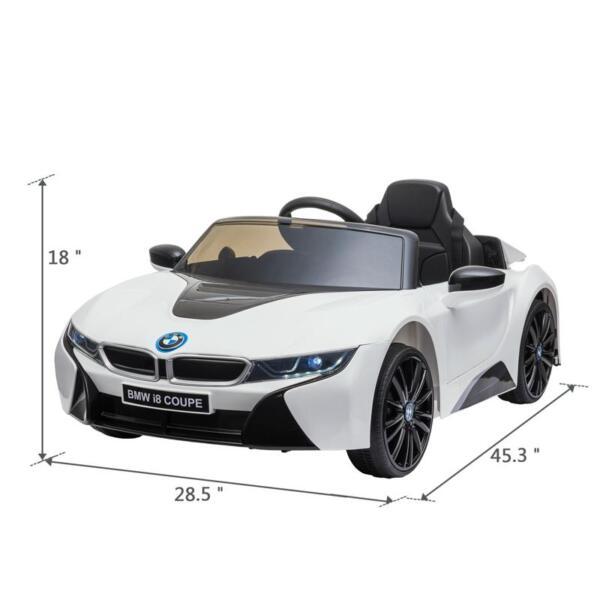 BMW Licensed i8 12V Kids Ride on Car, White bmw licensed i8 12v kids ride on car white 13
